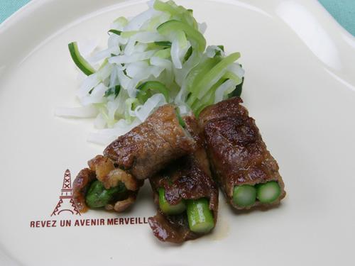 保育園の焼き・炒め物レシピ(牛肉のアスパラ巻き焼き)